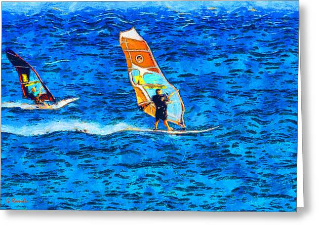 Windsurfing Greeting Card