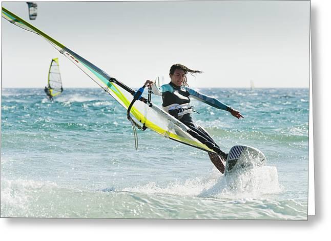 Windsurfing Off Punta Paloma Tarifa Greeting Card