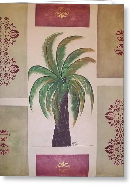 Greeting Card featuring the painting Windy Day Palm by Cindy Micklos