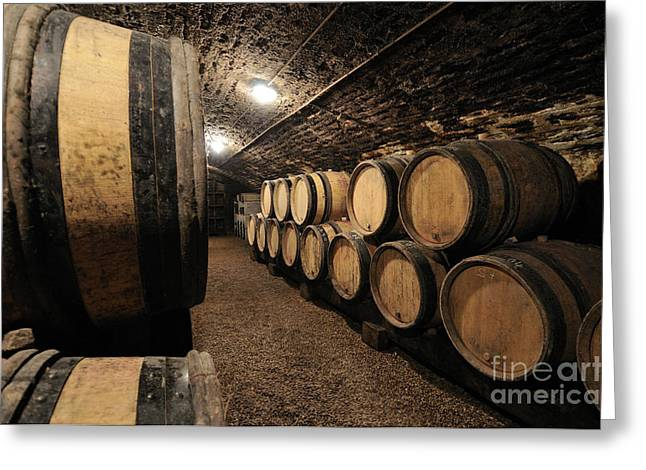Wine Barrels In A Cellar. Cote D'or. Burgundy. France. Europe Greeting Card by Bernard Jaubert
