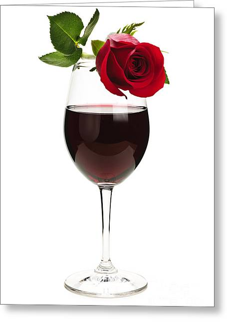 Wine With Red Rose Greeting Card
