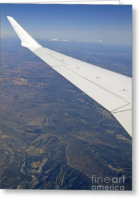 Wing Of Flying Airplane Over French Alps Greeting Card
