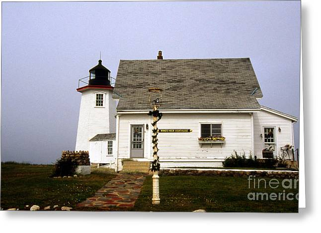 Wings Neck Lighthouse Greeting Card by Skip Willits