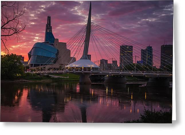Winnipeg Sunset Greeting Card by Bryan Scott