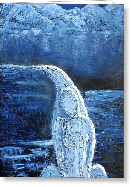 Greeting Card featuring the mixed media Winter Goddess by Angela Stout