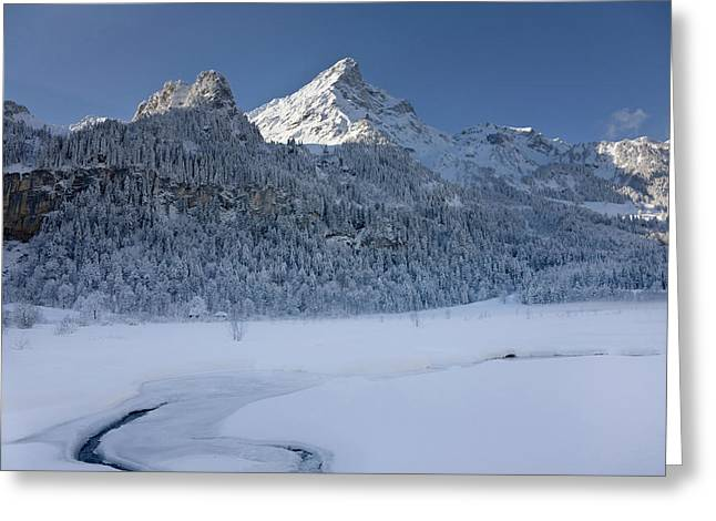 Winter Landscape At Tschingelsee (lake Greeting Card