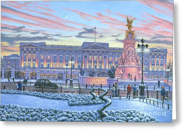Winter Lights Buckingham Palace Greeting Card by Richard Harpum