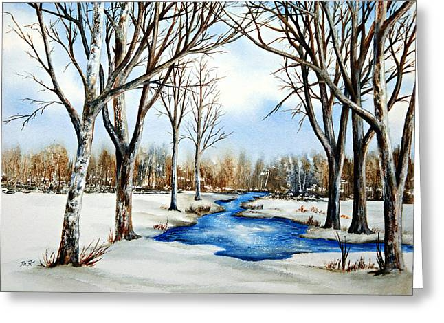 Greeting Card featuring the painting Winter Respite by Thomas Kuchenbecker
