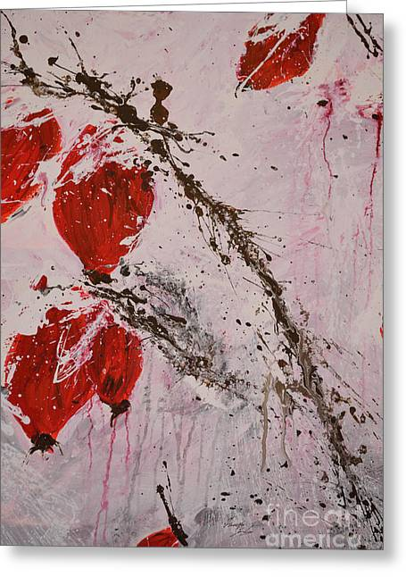 Winter Rose Hip -abstract Greeting Card