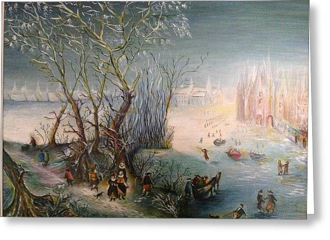 Greeting Card featuring the painting Winter Scene by Egidio Graziani