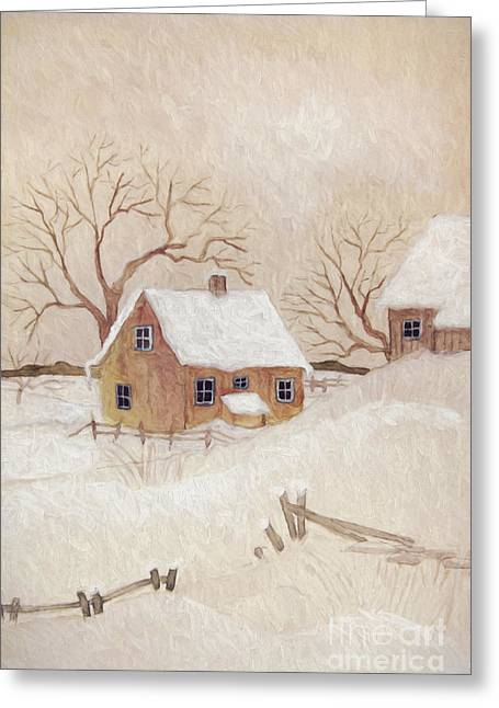 Winter Scene With Farmhouse/ Digitally Altered Greeting Card by Sandra Cunningham