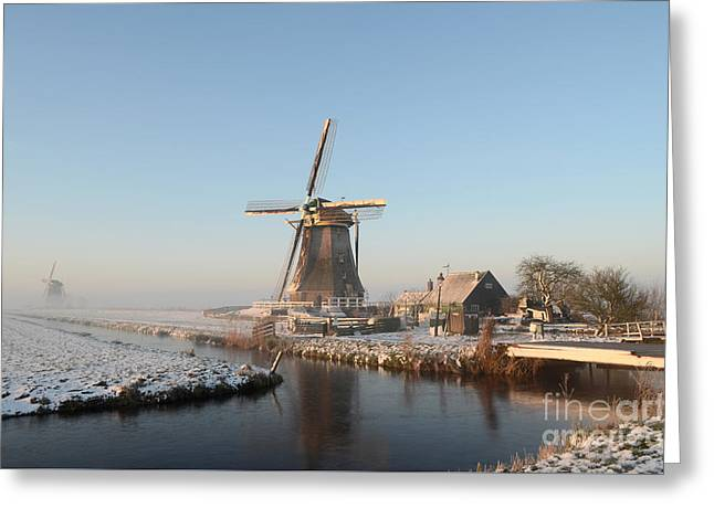 Winter Windmill Landscape In Holland Greeting Card
