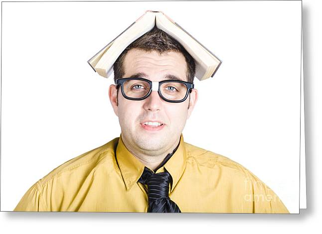 Wise Man With Book On His Head Greeting Card by Jorgo Photography - Wall Art Gallery