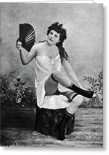 Woman And Fan, C1887 Greeting Card