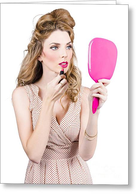 Woman Applying Lip Makeup With Cosmetics Mirror Greeting Card by Jorgo Photography - Wall Art Gallery