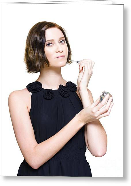 Woman Applying Perfume Fragrance Greeting Card