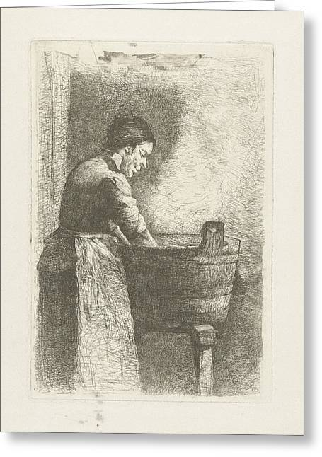 Woman At A Washtub, Gerard Jan Bos Greeting Card by Quint Lox