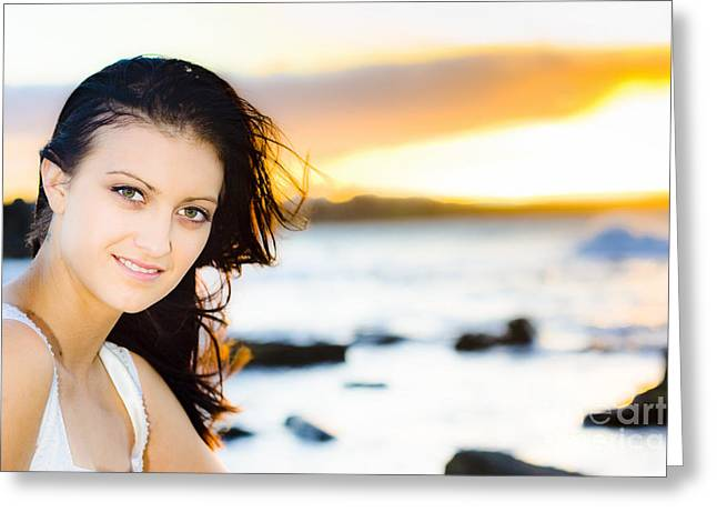 Woman At Sunset Greeting Card
