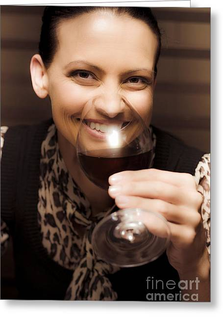 Woman At Winery Greeting Card