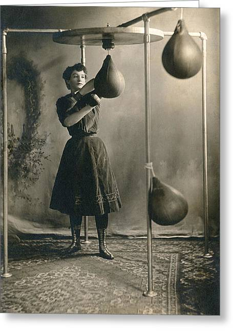 Woman Boxing Workout Greeting Card