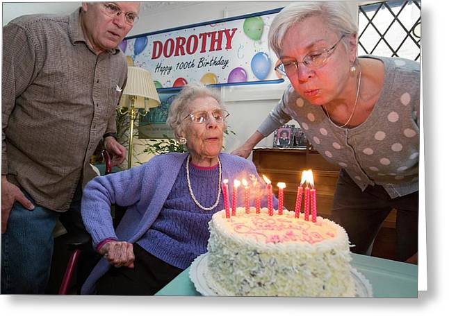Woman Celebrating 100th Birthday Greeting Card by Jim West