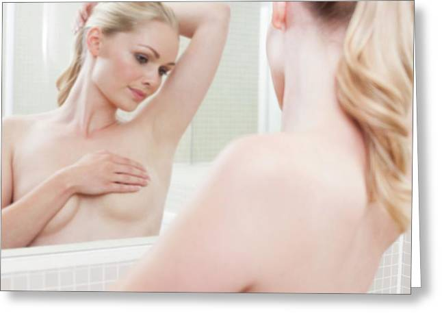 Woman Checking Her Breasts Greeting Card