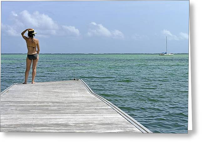 Woman Contemplating Ocean From Pontoon Greeting Card