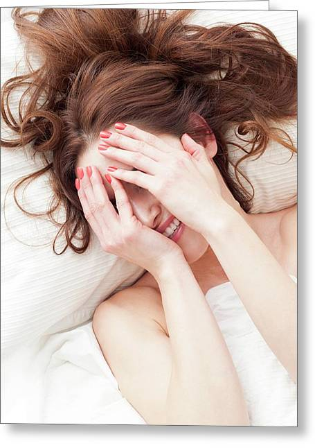 Woman Covering Face With Hands Greeting Card