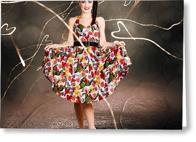 Woman Dancing In Colorful Floral Dress Outdoor Greeting Card by Jorgo Photography - Wall Art Gallery