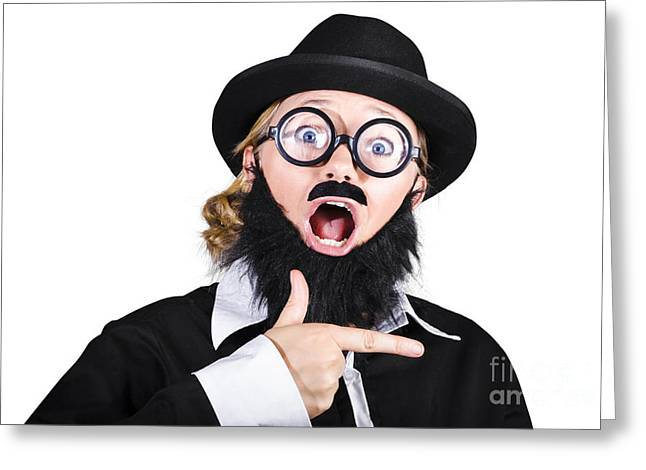 Woman Disguised As Man Gesturing Greeting Card