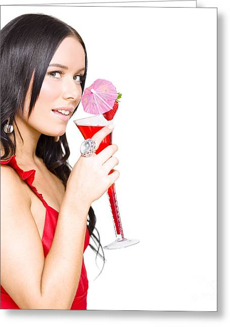 Woman Drinking Alcohol Drink At Christmas Party Greeting Card