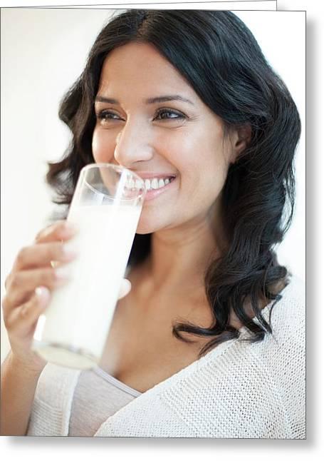 Woman Drinking Milk Greeting Card by Ian Hooton