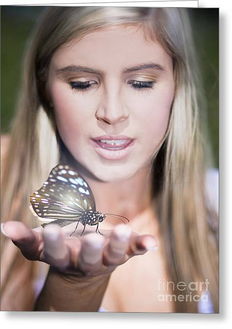 Woman Holding Butterfly Greeting Card by Jorgo Photography - Wall Art Gallery