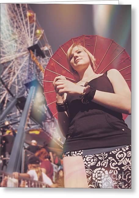 Woman Holding Parasol Greeting Card