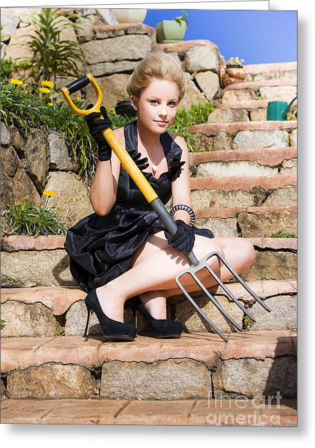 Woman Holding Pitchfork Greeting Card by Jorgo Photography - Wall Art Gallery
