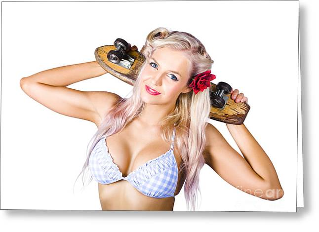 Woman Holding Skateboard Greeting Card by Jorgo Photography - Wall Art Gallery