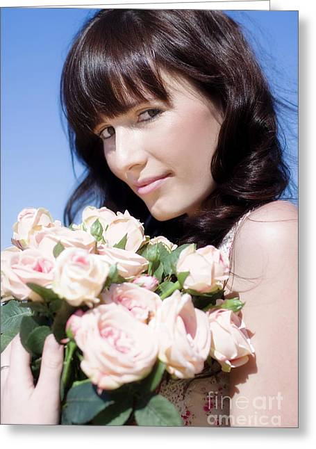 Woman In A Rose Romance Greeting Card