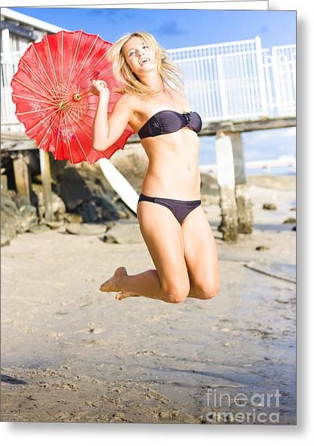 Woman In Bikini Jumping Greeting Card