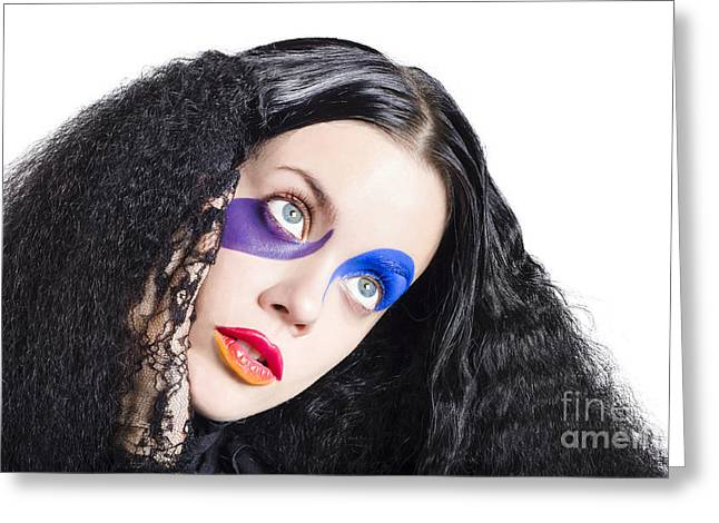Woman In Colorful Fashion Make Up Greeting Card