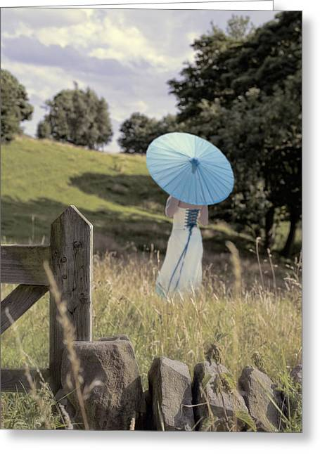 Woman In Country Field Greeting Card by Amanda Elwell