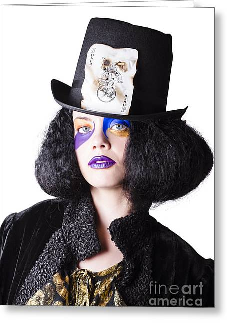 Woman In Joker Costume Greeting Card by Jorgo Photography - Wall Art Gallery