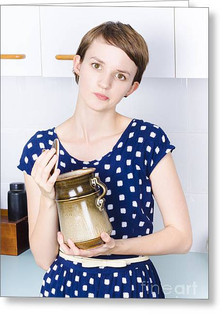 Woman In Kitchen With Sugar Jar Greeting Card by Jorgo Photography - Wall Art Gallery