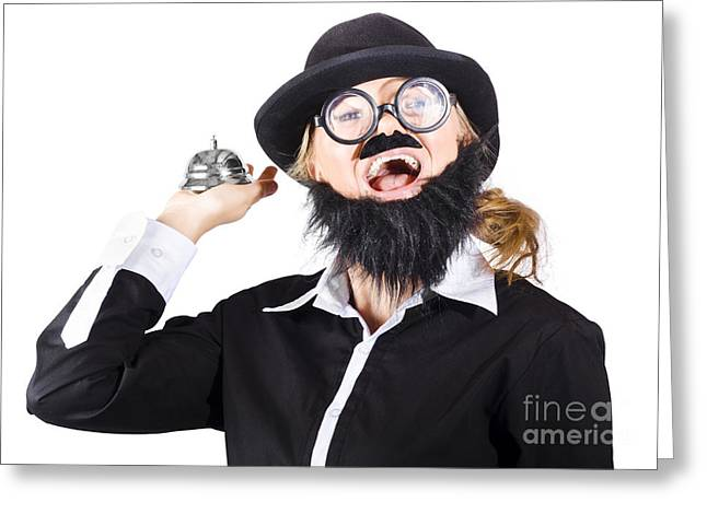 Woman In Mens Clothes With Service Bell Greeting Card