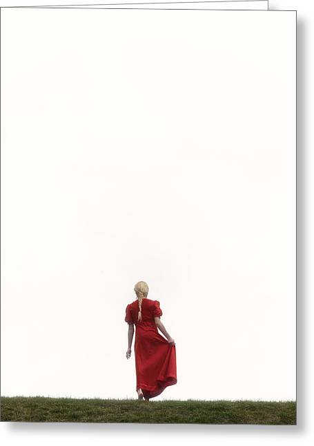 Woman In Red Greeting Card by Joana Kruse