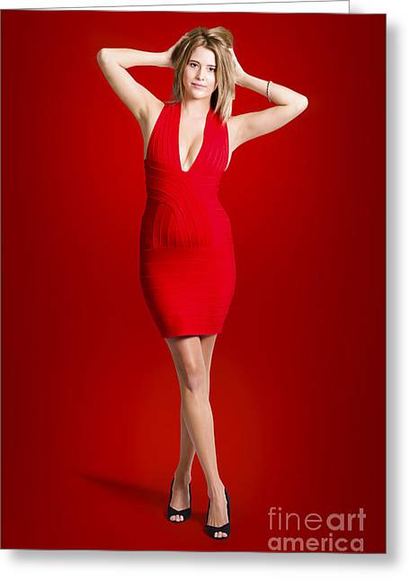 Woman In Vibrant Red Dress On Maroon Background Greeting Card