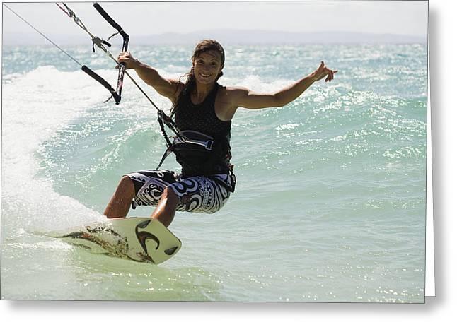 Woman Kitesurfing In Costa De La Luz Greeting Card by Marcos Welsh