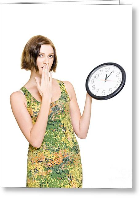 Woman Late For The Time Schedule Deadline Greeting Card
