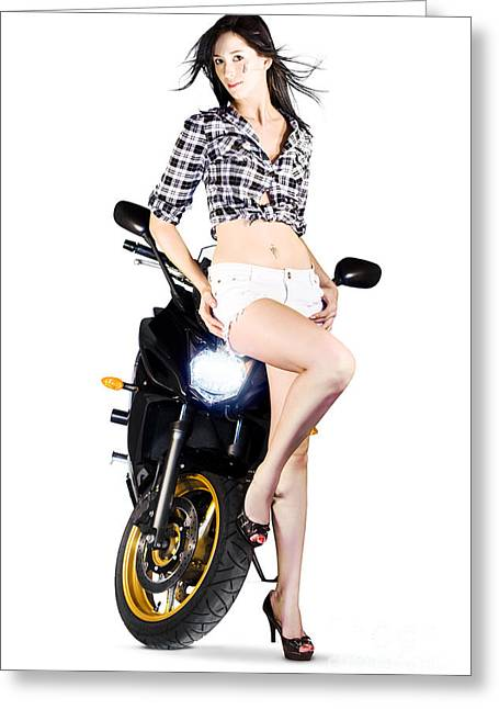 Woman Leaning On A Motorbike Greeting Card by Jorgo Photography - Wall Art Gallery
