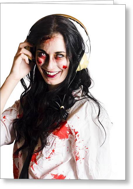Woman Listening To Death Metal Greeting Card by Jorgo Photography - Wall Art Gallery