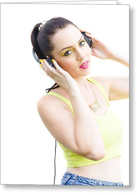 Woman Listening To Music Greeting Card by Jorgo Photography - Wall Art Gallery